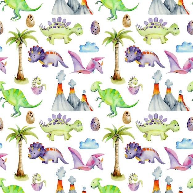 Modèle sans couture aquarelle de dinosaures préhistoriques Vecteur Premium