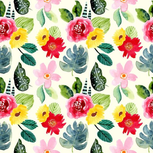 Modèle sans couture aquarelle été fleur tropicale Vecteur Premium