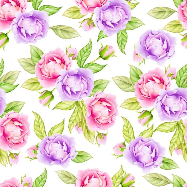 Modèle sans couture aquarelle feuilles floral Vecteur Premium