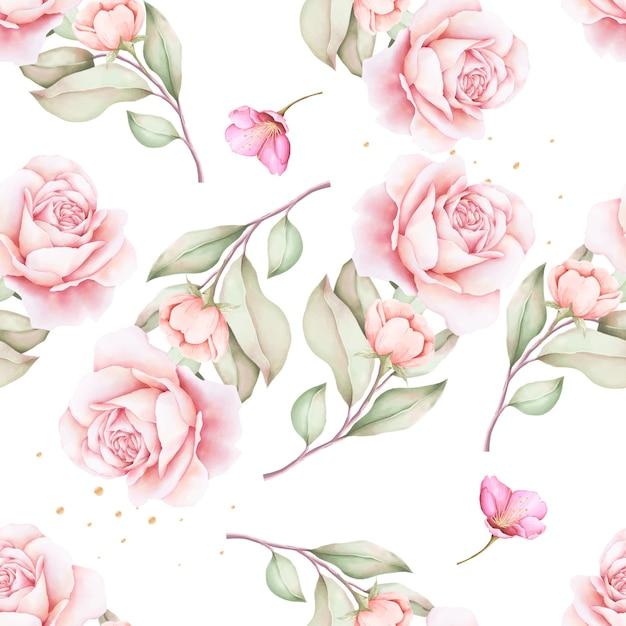 Modèle Sans Couture Aquarelle Floral Dessiné à La Main Vecteur gratuit