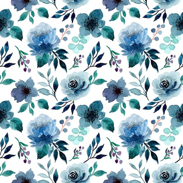 Modèle Sans Couture Aquarelle Floral Indigo Bleu Vecteur Premium