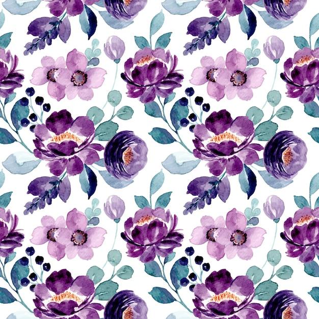 Modèle Sans Couture Aquarelle Floral Violet Vecteur Premium