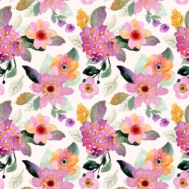 Modèle sans couture aquarelle floral Vecteur Premium