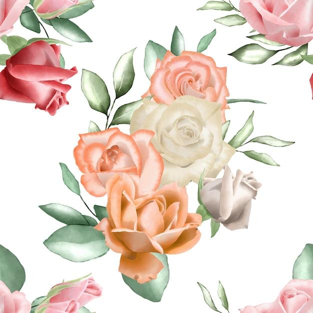 Modèle sans couture avec aquarelle florale et feuilles Vecteur Premium
