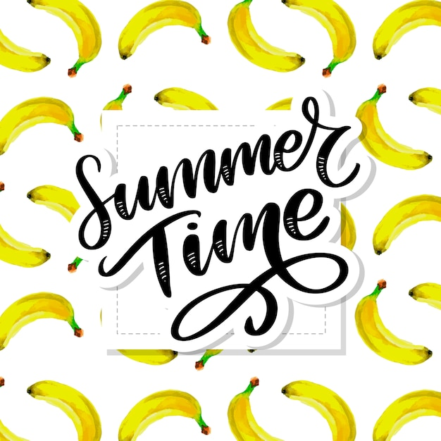Modèle Sans Couture Aquarelle Heure D'été Avec Des Bananes. Dessiné à La Main Tropical. Illustration De Fruits D'été. Vecteur Premium