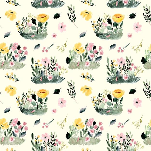 Modèle sans couture aquarelle jardin floral. Vecteur Premium