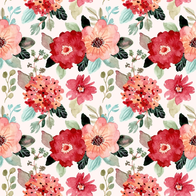 Modèle sans couture aquarelle jolie fleur Vecteur Premium