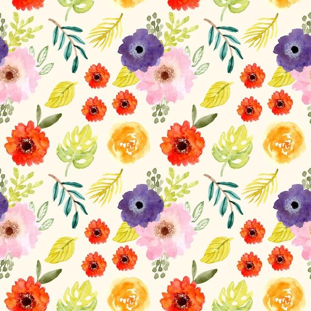 Modèle sans couture aquarelle mignonne fleur tropicale Vecteur Premium