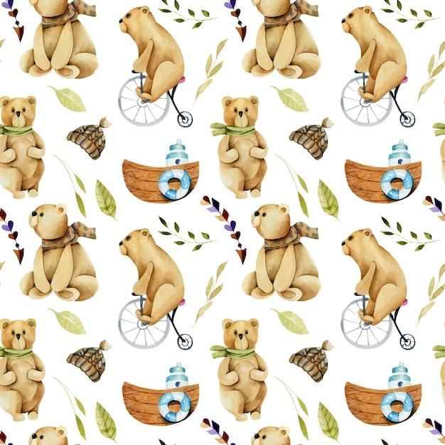 Modèle sans couture d'aquarelle ours mignons sur un vélo Vecteur Premium