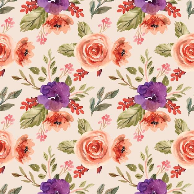 Modèle Sans Couture Aquarelle Avec Pivoines Violettes Et Fleurs Orange Vecteur Premium
