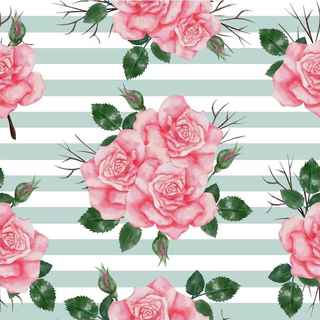 Modèle sans couture avec aquarelle rose rose Vecteur Premium