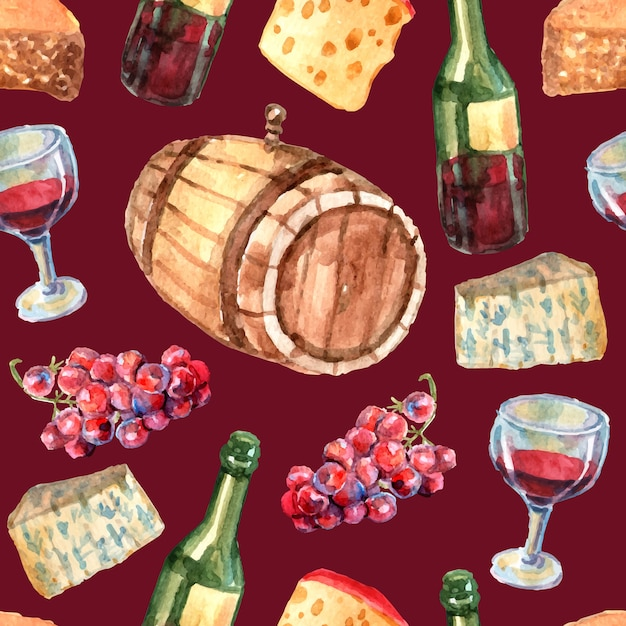 Modèle sans couture aquarelle de vin avec des bouteilles de raisin de fromage et de verre Vecteur gratuit