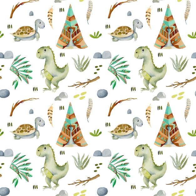 Modèle sans couture aquarelle de wigwams, tortues et dinosaures Vecteur Premium