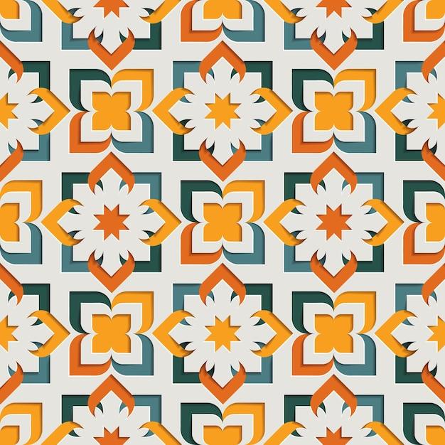 Modèle Sans Couture Arabesque Abstraite Floral Oriental Islamique Pour Le Ramadan Kareem. Fond De Style Papier Motif Oriental Vecteur Premium