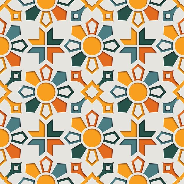 Modèle Sans Couture Arabesque Abstraite Géométrique Islamique Pour Le Ramadan Kareem. Fond De Style Papier Motif Oriental Vecteur Premium