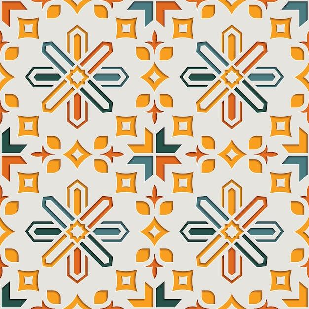 Modèle Sans Couture Arabesque Abstraite Géométrique Musulmane Pour Le Ramadan Kareem. Fond De Style Papier Motif Oriental Vecteur Premium