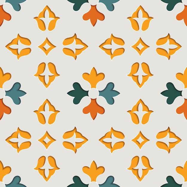 Modèle Sans Couture Arabesque Ornementale Floral Oriental. Fond De Style Papier Motif Oriental Vecteur Premium