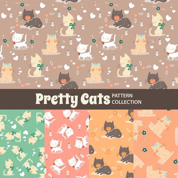 Modèle sans couture d'arc-en-ciel mignon de beaux chats Vecteur Premium