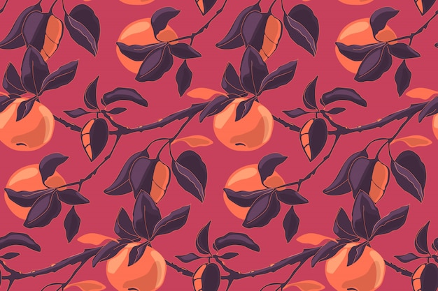 Modèle Sans Couture D'art Floral Vector Aux Pommes. Branches De Pommier Avec Des Feuilles Et Des Fruits Mûrs. Pour Textiles De Maison, Tissus, Papier Peint, Décor De Cuisine, Papier D'emballage. Vecteur Premium