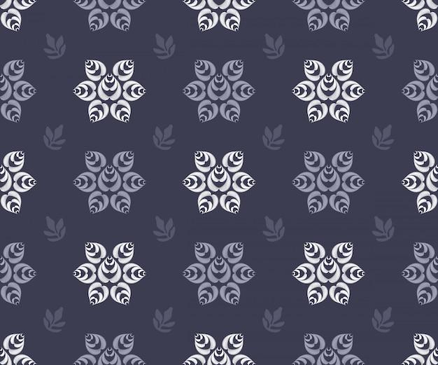 Modèle sans couture d'art floral vector. fleurs de vecteur rayé isolé Vecteur Premium