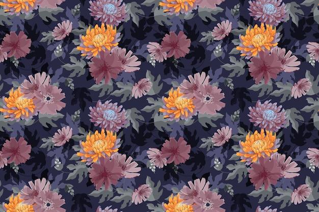 Modèle Sans Couture Art Floral Vector Vecteur Premium