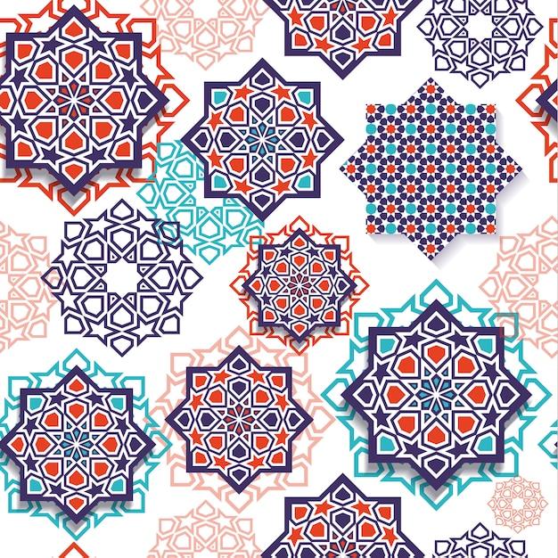 Modèle sans couture d'art géométrique islamique Vecteur Premium