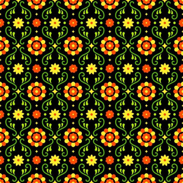 Modèle Sans Couture D'art Populaire Mexicain Avec Des Fleurs Sur Fond Sombre. Design Traditionnel Pour La Fête. éléments Fleuris Floraux Colorés Du Mexique. Ornement De Folklore Mexicain. Vecteur Premium