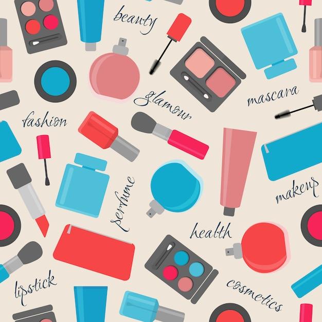 Modèle Sans Couture Avec Des Articles De Maquillage Et Cosmétiques Vecteur Premium