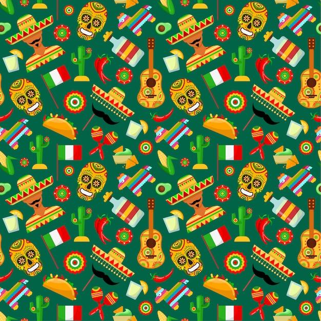 Modèle sans couture avec attributs mexicains traditionnels Vecteur Premium