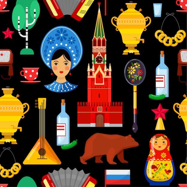 Modèle sans couture avec des attributs russes traditionnels Vecteur Premium