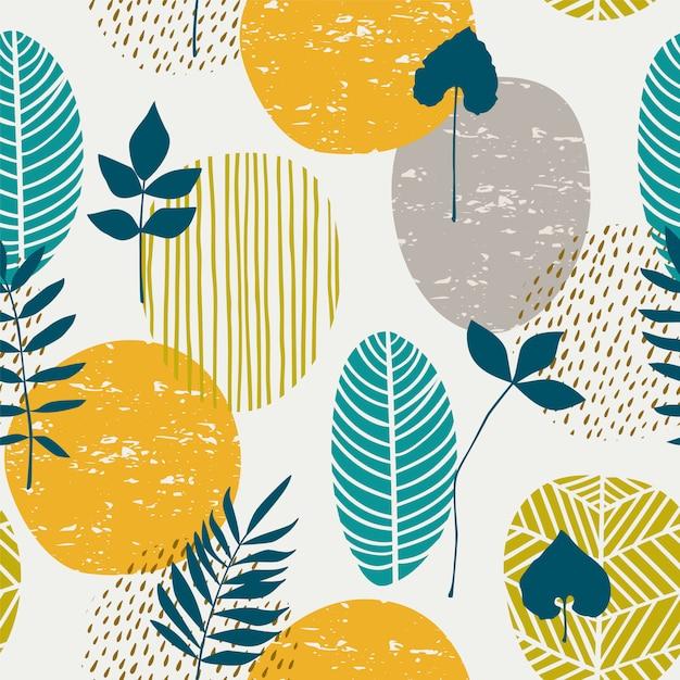 Modèle sans couture automne abstrait avec des feuilles. Vecteur Premium