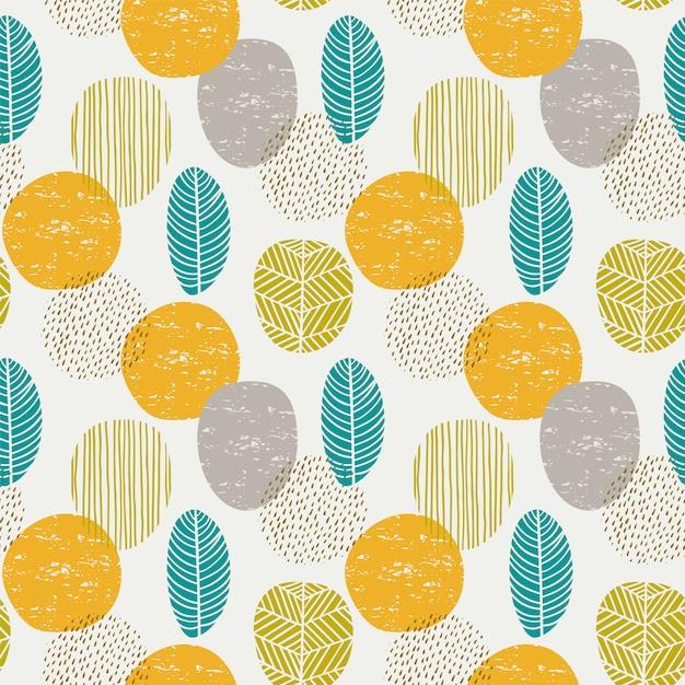 Modèle sans couture automne abstrait avec des feuilles Vecteur Premium