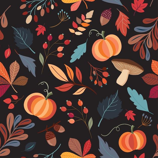 Modèle sans couture autumnal avec éléments de décoration dessinés à la main sur fond noir Vecteur Premium