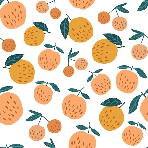 Modèle sans couture aux pommes et aux feuilles. Vecteur Premium