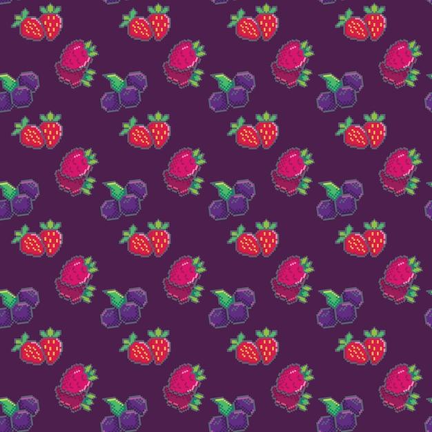Modèle sans couture avec des baies. myrtille, fraise et framboises. motif de pixels pour papier peint, papier d'emballage, impressions de mode, tissus, design. Vecteur Premium