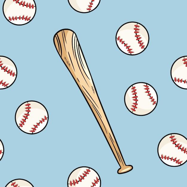Modèle sans couture balle et batte de baseball. griffonnages mignons dessinés à la main Vecteur Premium