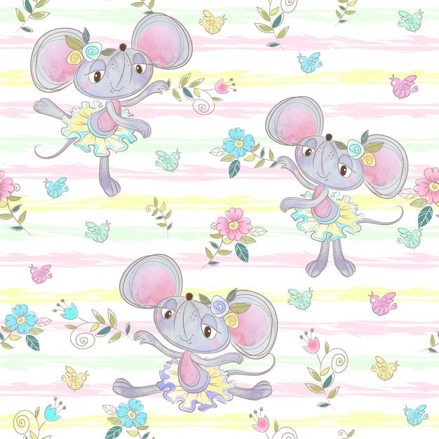 Modèle sans couture. ballerines de souris drôles danser dans le pré. Vecteur Premium