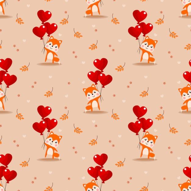 Modèle sans couture ballon mignon renard et valentine. Vecteur Premium