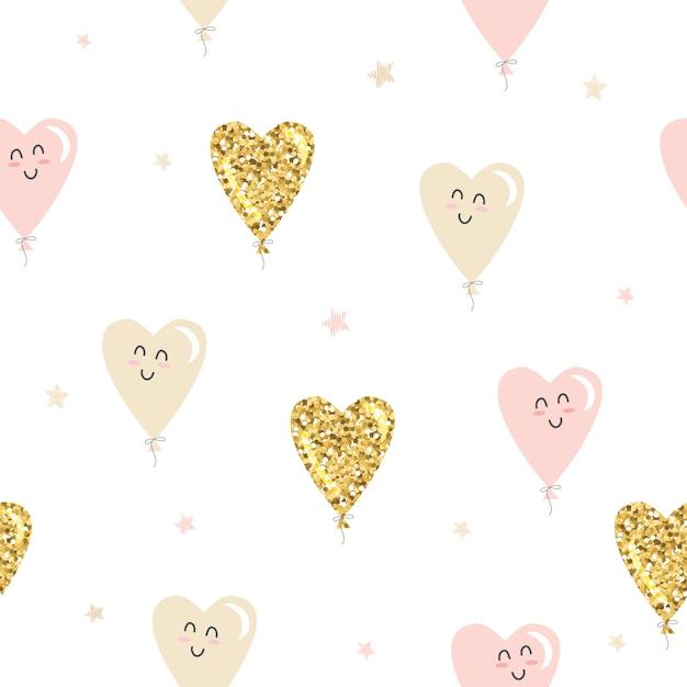 Modèle sans couture de ballons coeur kawaii. paillettes d'or, rose pastel et beige. Vecteur Premium