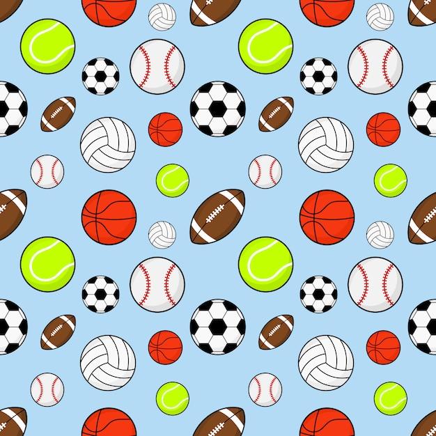 Modèle sans couture ballons de football, rugby, baseball, basketball, tennis et volleyball Vecteur Premium