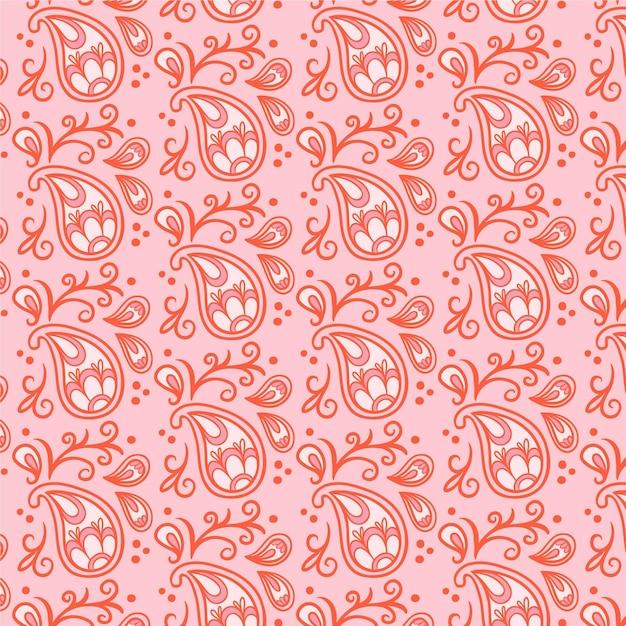 Modèle Sans Couture De Bandana Paisley Rouge Clair Vecteur Premium