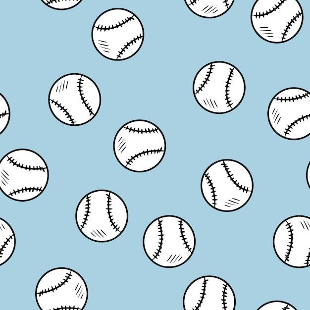 Modèle sans couture de baseball Vecteur Premium