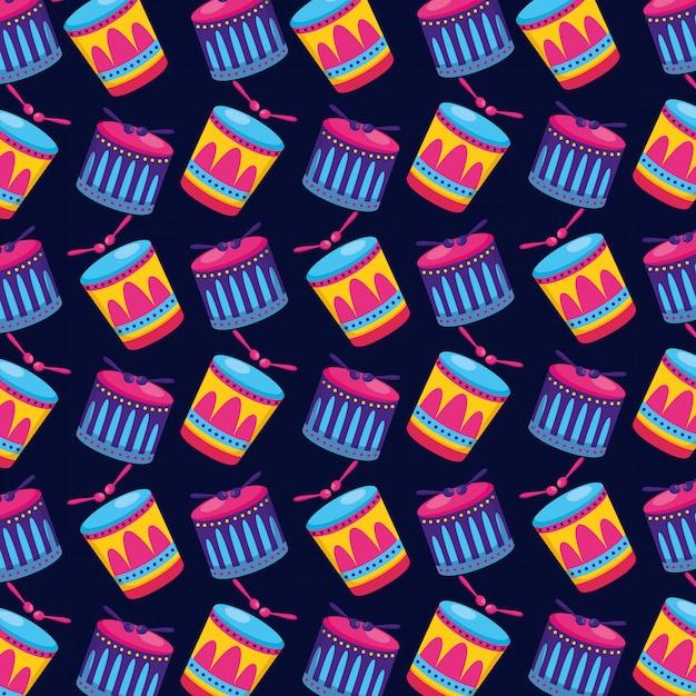 Modèle sans couture bâtons de carnaval Vecteur gratuit