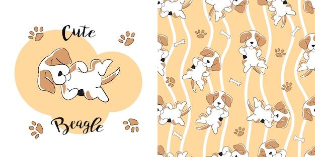 Modèle sans couture beagle dessiné à la main Vecteur Premium