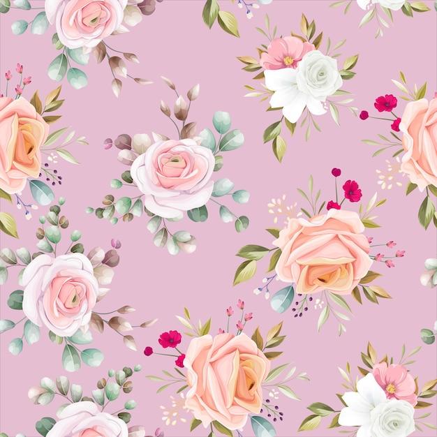 Modèle Sans Couture Avec Beau Floral Vecteur gratuit