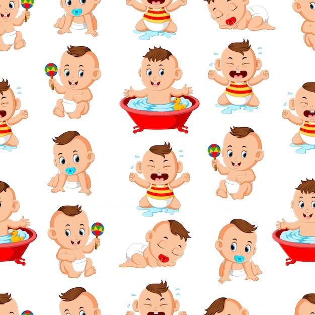 Modèle sans couture avec les bébés heureux faire les activités Vecteur Premium