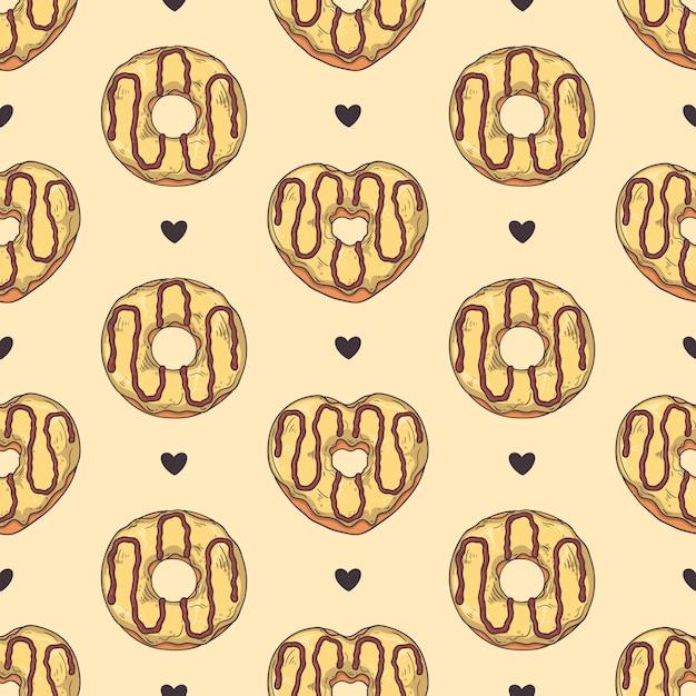 Modèle sans couture. beignets glacés à décor de garnitures, chocolat, noix. Vecteur Premium
