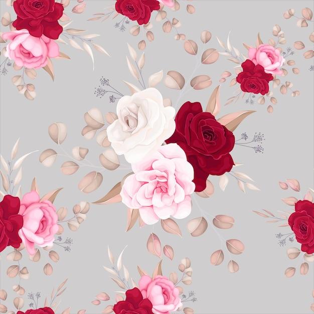 Modèle Sans Couture Belle Conception De Fleurs Et De Feuilles Vecteur gratuit