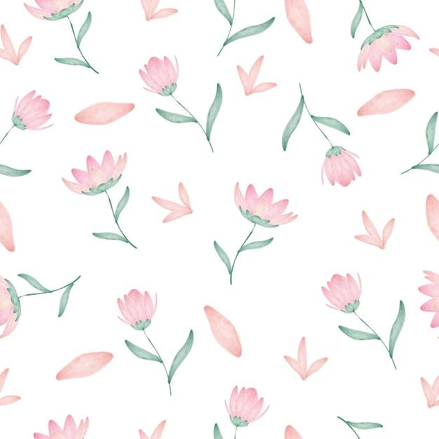 Modèle sans couture de belle fleur aquarelle Vecteur Premium