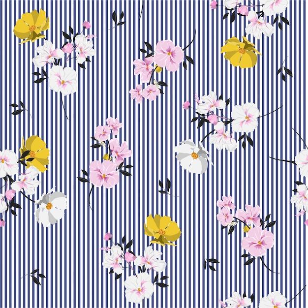 Modèle sans couture belle pleine de fleurs épanouies et laisse une humeur brillante sur une rayure bleu marine Vecteur Premium